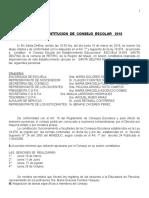 ACTA de CONTITUCION Consejo Escolar 19 de Marzo de 2018