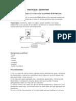 PRÁCTICA de LABORATORIO; Conductividad Eléctrica