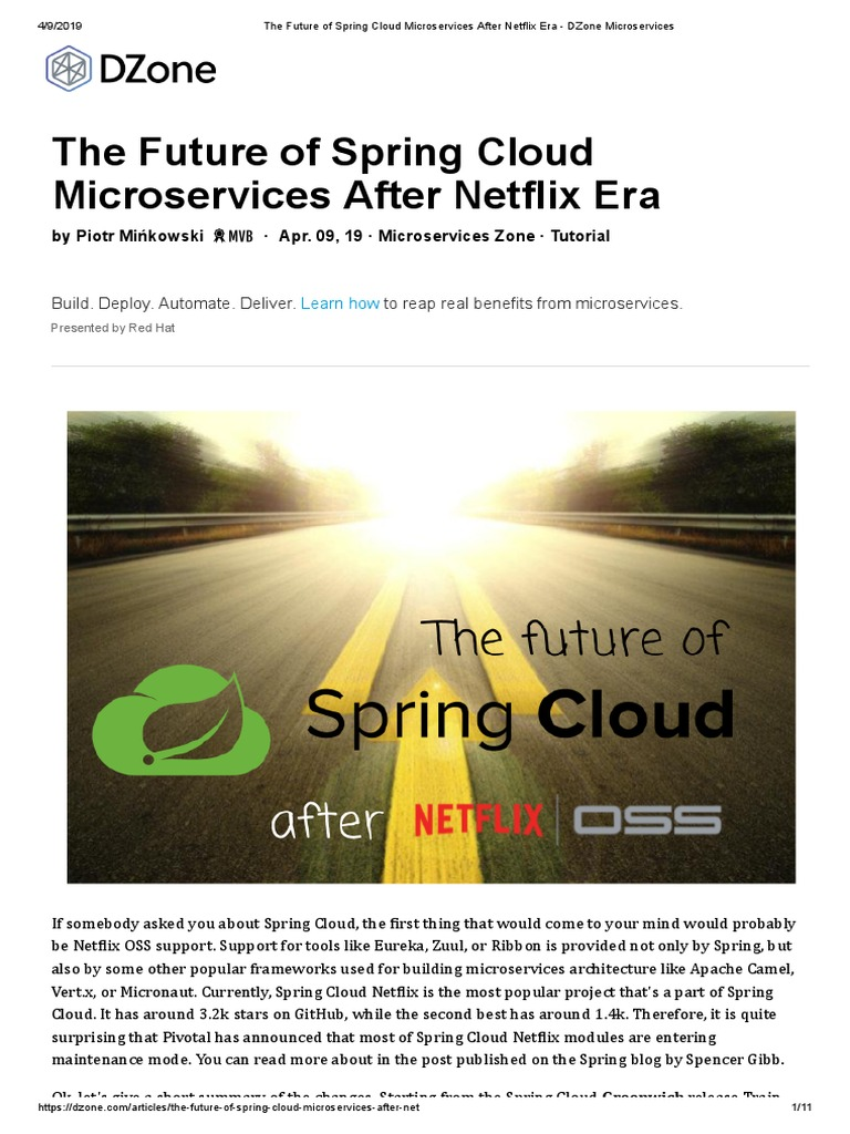 The Future of Spring Cloud Microservices After Netflix Era - DZone
