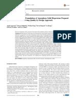 Development of Tablet Formulation of Amorphous Solid Dispersions Prepared