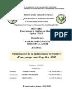Optimisation de La Maintenance Preventive Une Pompe Centrifuge Ga1102