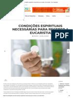 Condições Espirituais Necessárias Para Receber a Eucaristia – Sou Catequista