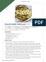 cauliflower tortillas - recipe girl
