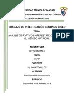 ANÁLISIS DE PÓRTICOS HIPERESTÁTICOS