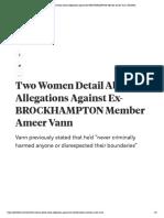 Two women detail allegatiosna gainst Ameer Vann