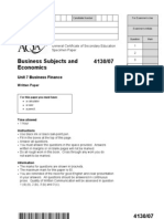 Unit 7 Business Finance - Specimen Question Paper