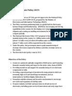National Policy on Electronics 2019 UPSC SSC CGL