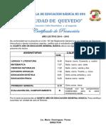 Certificado de Promocion 2019