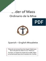 Catholic Order of Mass English-Spanish Missalette