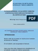 Flotacion Diferencial de Calcopirita y Bismutina a Partir de Sulfuros Complejos Provenientes Del Distrito de Tasna