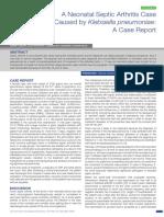 A Neonatal Septic Arthritis Case Caused by Klebsiella Pneumoniae - A Case Report