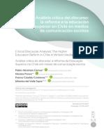 Analisis Critico Del Discuros Reforma Educacional Chilena