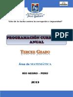 Programación Curricular Jose Galvez Tercero Matemática 2019