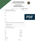 Cuestionario de Matemáticas I Parcial I Quimestre Coronela Filomena Chavez M 2016-2017