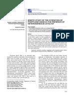 Kinetics Study of Propylene Oxide and Water