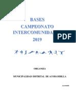 Bases Futbol Intercomunidades Municipalidad Distrital de Acobambilla 2019
