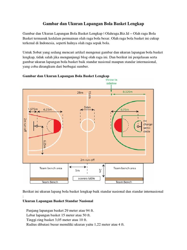 Gambar Dan Ukuran Lapangan Bola Basket Lengkap Docx