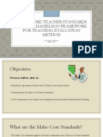 idaho core teacher standards and the danielson framework  1