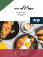 EPICURE Autumn Winter 2019 - Breakfast Menu