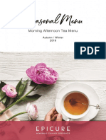 EPICURE Autumn Winter 2019 - Morning Afternoon Tea Menu