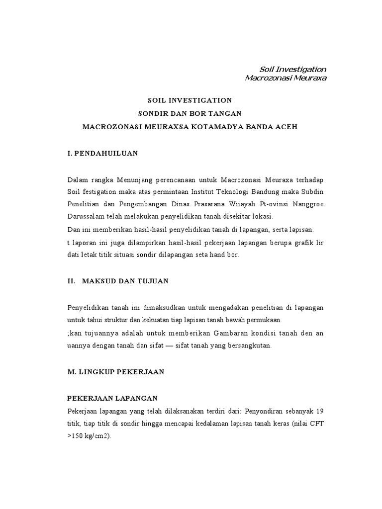 Soil Investigation Sondir Dan Bor Tangan Macrozonasi Meuraxsa Kotamadya Banda Aceh