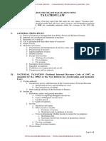 Syllabus for Taxation Bar Exam 2019