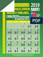 Calendario de restricción vehicular para catalíticos