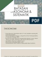 Batasan Taksonomi Dan Sistematik
