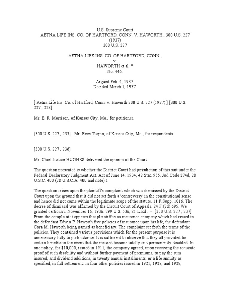 Aetna Life Ins  Co  of Hartford, Conn  v  Haworth , 300 u s