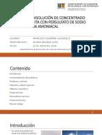cinética de disolución de concentrado de molibdenita con persulfato de sodio en medio amoniacal