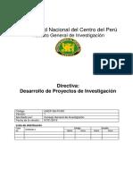 UNCP-IGI-PI-001 Directiva. Desarrollo de Proyectos de Investigación