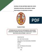 """""""Optimizacion de Costos de Sostenimiento, Reduciendo Consumo de Madera Por Malla Electrosoldada y Perno Split Set en Veta Victoria - c.m.h. s.a."""""""