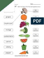 Fruit and Vegetable Printable Worksheet