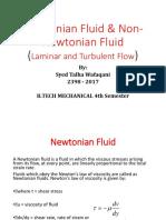 Newtonian Fluid and Non-Newtonian Fluid, Laminar and Turbulent Flow