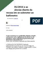 Lei 13.281_2016 e as Consequências Diante Da Recusa Em Se Submeter Ao Bafômetro