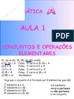 Matemática PPT - Aula 01 - Conjuntos e Operações Elementares