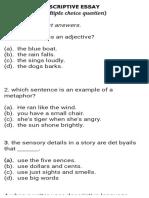 Descreptive Essay Mcqs-1