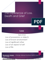 The Experience of Loss, Death and Grief