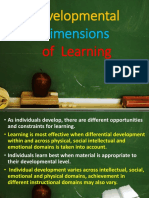 Developmental Dimensions of  Learning