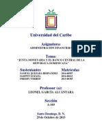 TRABAJO SOBRE LA Junta Monetaria y El Banco Central de La Republica Dominicana