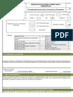 19031 Formato Registro de Correctivas y Preventivas