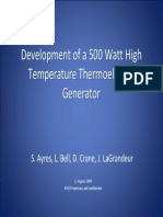 Development of a 500 Watt High  Development of a 500 Watt High  Temperature  Thermoelectric  Temperature  Thermoelectric  Generator