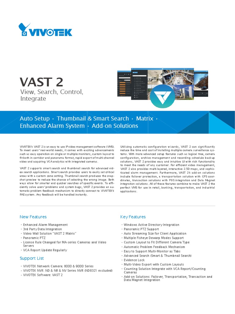 Vast2datasheet En | Video | Streaming Media