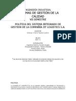 POLITICA DEL SISTEMA INTEGRADO DE GESTION DE LA COMPAÑÍA JIT LOGISTICS S.A..docx