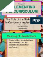 Implimentingthecurriculum Therolesofstakeholders Hazelandjeric 120917005949 Phpapp02
