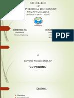 Seminar ppt on 3D Printing