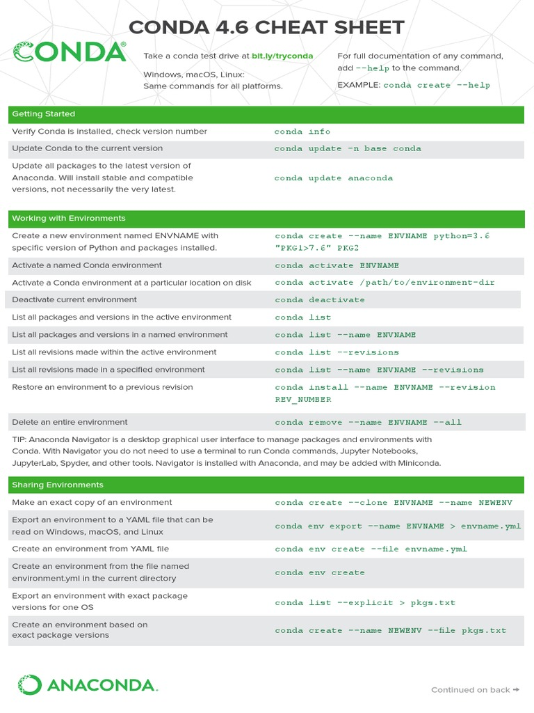 conda-cheatsheet pdf | Mac Os | Operating System Technology