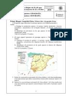 Examen Geografía 2018
