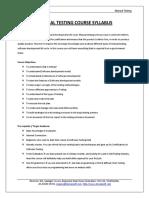Syllabus of Manual Testing