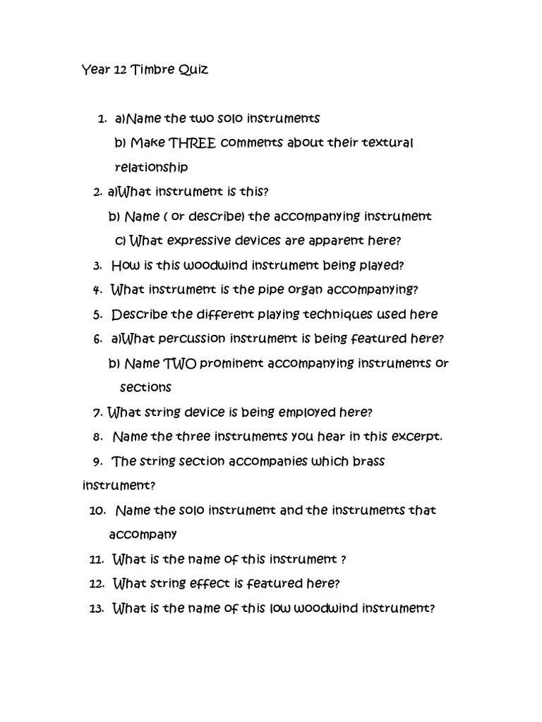 Year 12 Timbre Quiz docx